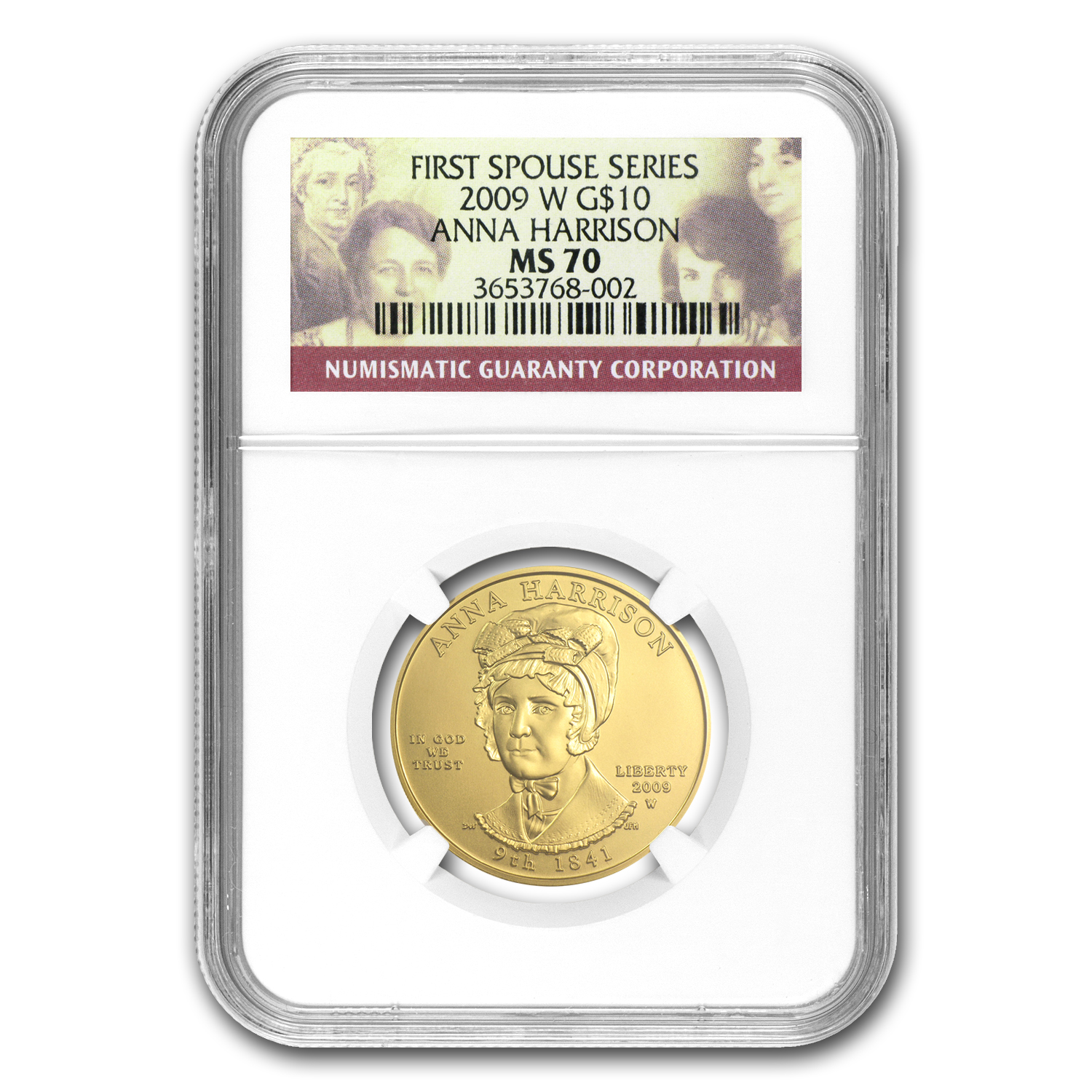 2009-W 1/2 oz Gold Anna Harrison MS-70 NGC